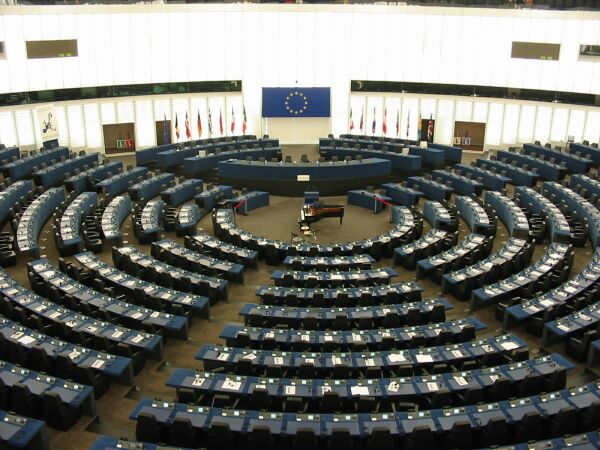 Inside the European Parliament in Strasbourg. January 1, 2003 (Cédric Puisney/Wikimedia Commons)