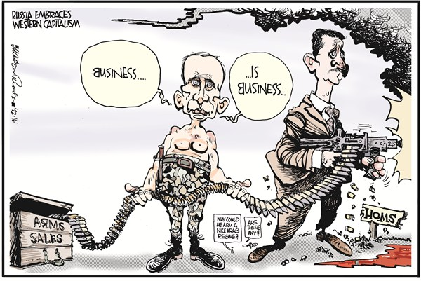Freedom House's political cartoon illustrating the not-so-secret arms trade between Russia and Syria. (Freedom House/Flickr Creative Commons)