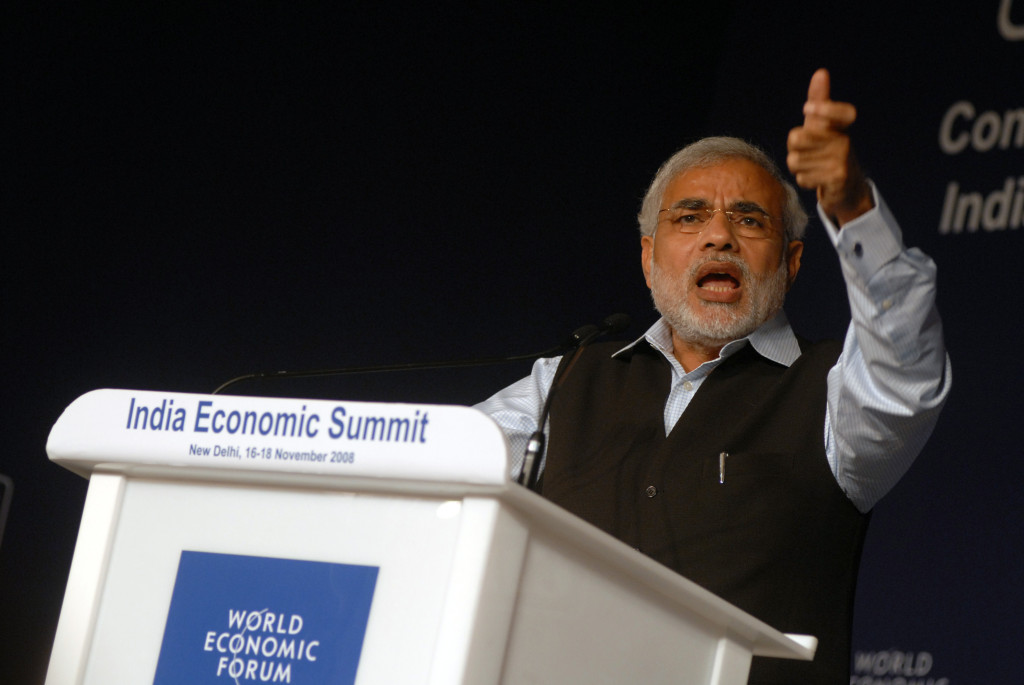 Narenda Modi speaking at the India Economic summit in 2008. November 16, 2008 (World Economic Forum/Wikimedia Commons)