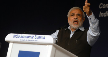 Narenda Modi speaking at the India Economic summit in 2008. November 16, 2008 (World Economic Forum/Wikimedia Commons)
