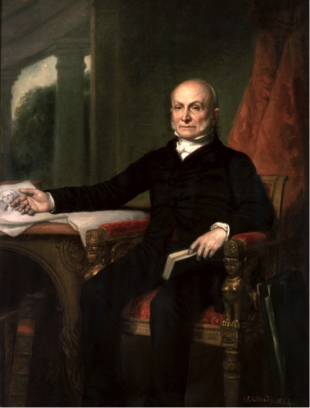 John Quincy Adams, author of the Monroe Doctrine, which established hegemony over the critical northern half of the Western Hemisphere as an American strategic priority. December 31, 1857. (Wikimedia Commons/George Peter Alexander Healy, Official White House Portrait)