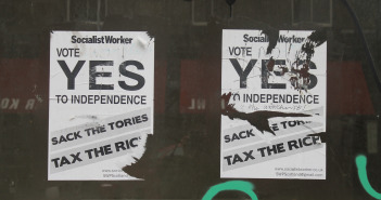 Socialist Worker Party campaign materials for Scotland's referendum vote, July 2014. (Connie Ma/Flickr Creative Commons)