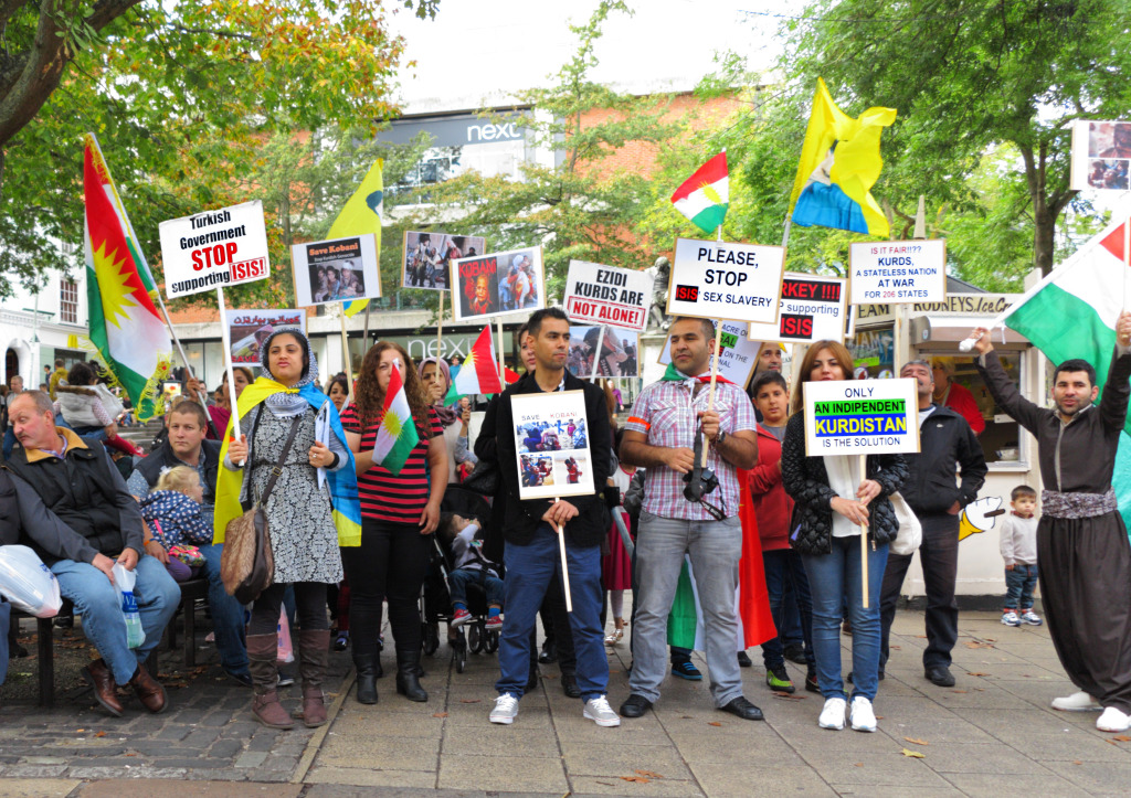 German Kurds protest Turkish inaction in Kobane. 2011. (Roger Blackwell/Flickr Creative Commons)