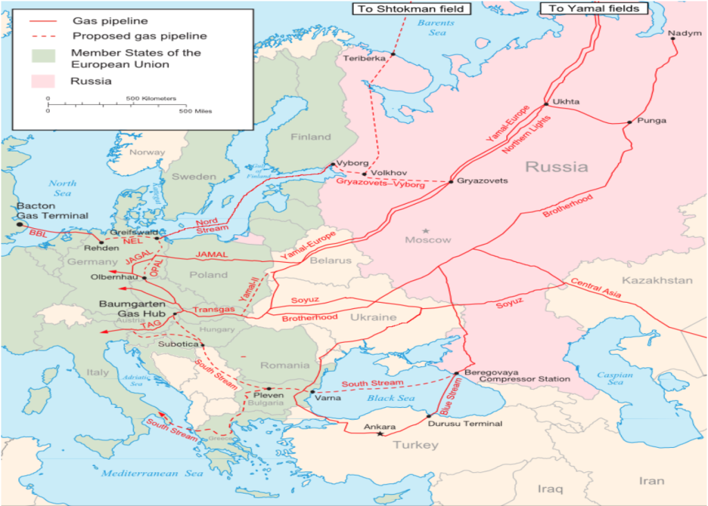A Map of Existing and Proposed pipelines for supplying Europe with Russian and Central Asian Natural Gas (Wikipedia Commons, 2009).