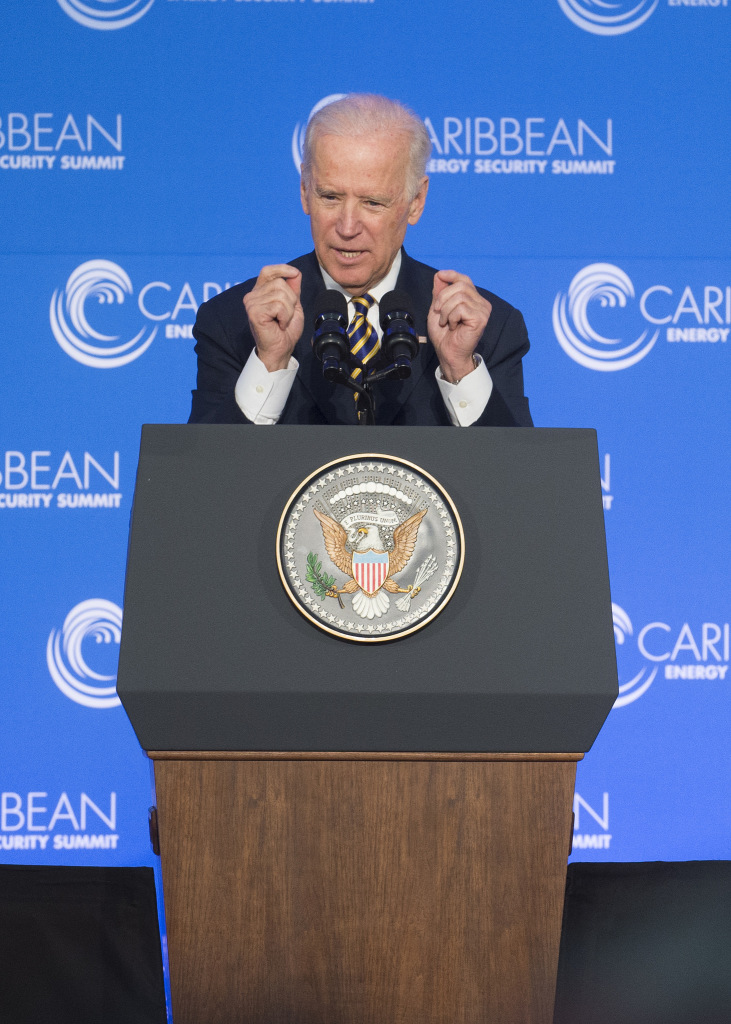 Biden presents the Summit's keynote address. January 26, 2015. (US Department of State/Creative Commons)