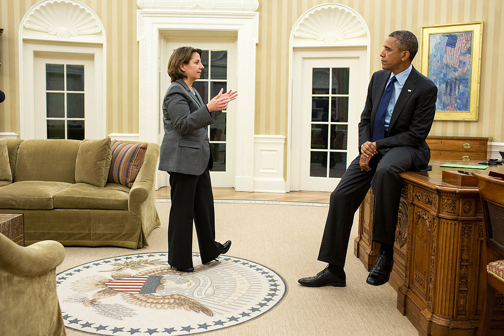 President Barack Obama talking with Lisa Monaco, his Homeland Security Advisor and chief counterterrorism advisor. April 13, 2013. (Pete Souza/Wikimedia Commons)