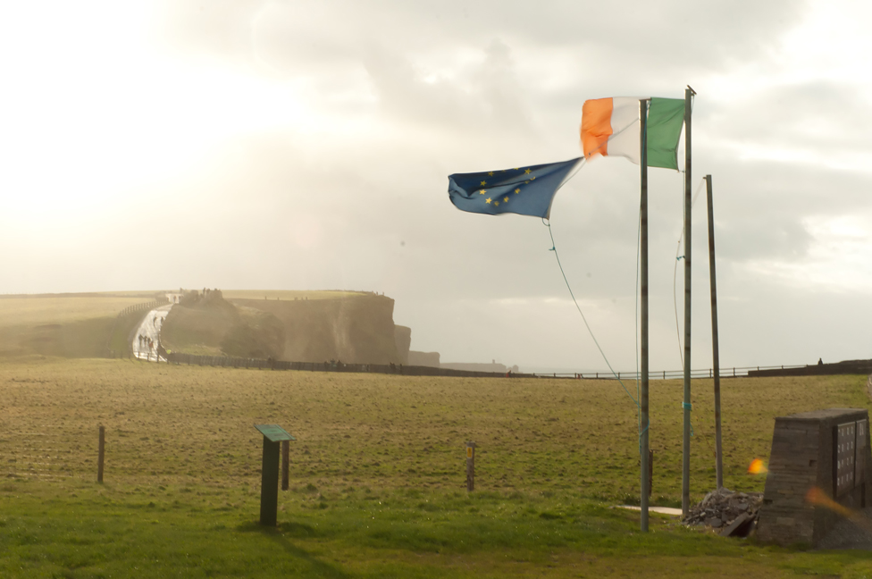 Irish and EU Flags. December 3, 2011. (jcdcv/Creative Commons)