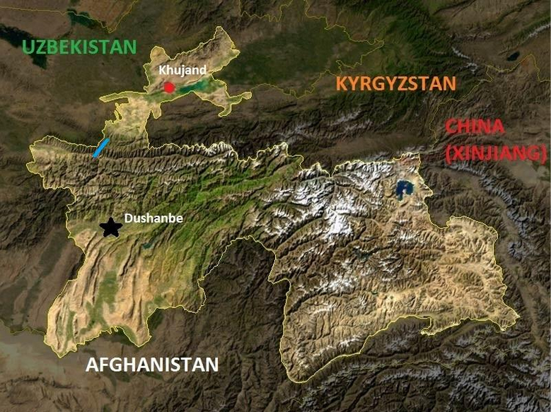 The Shahriston Tunnel (blue line) easily connects the capital Dushanbe with Khujand, Tajikistan's second-largest city and provincial capital of Sughd, situated in the rich and fertile Fergana Valley.  (Poulpy: based on the work of NASA, edited by Author/Wikimedia Commons)