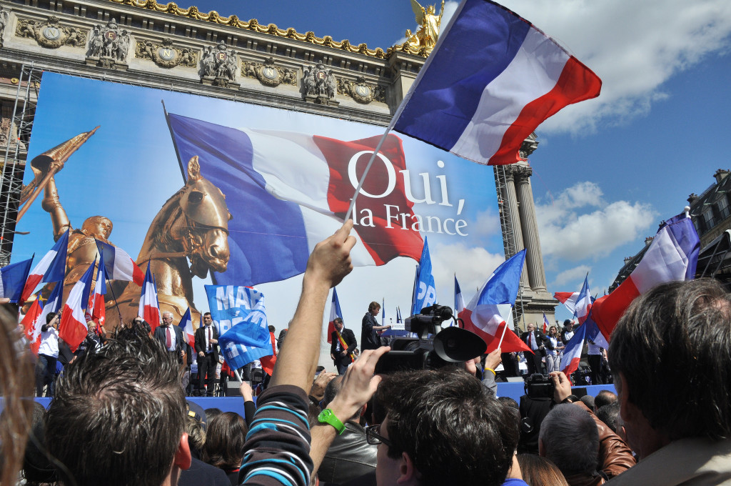Front National holds a political rally in May 2012 in front of l'Opéra national in Paris. (Blandine Le Cain/Flickr)
