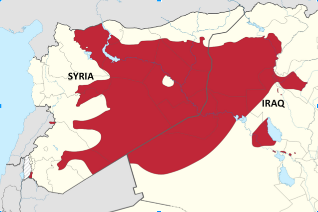 A map of the territory the Islamic State currently administers (border darkened and labeled from original). October 21, 2015. (Spesh 531/ Wikimedia Commons).
