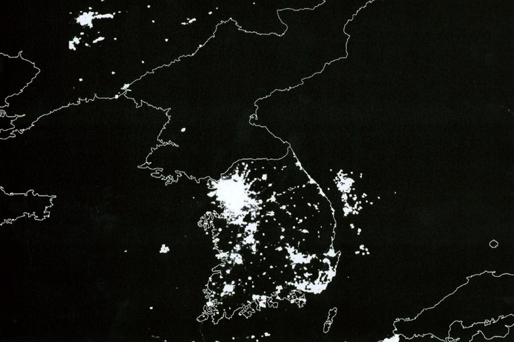 "The Korean Peninsula at night. Compared to its neighbors and the rest of the world, North Korea fulfills its reputation as the ""Hermit Kingdom"". 2010. (Roman Harak/flickr)"
