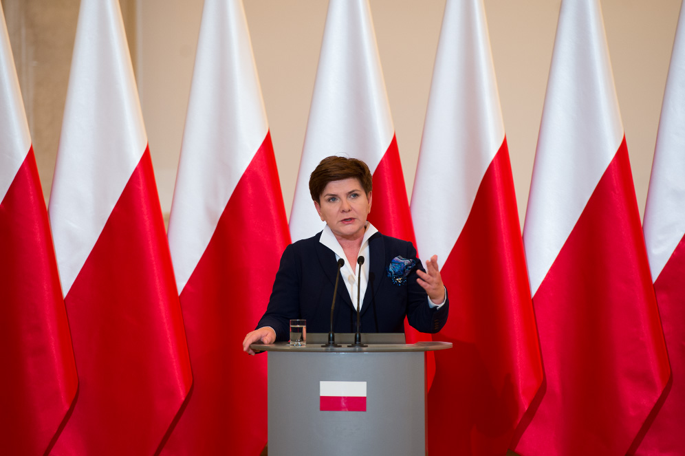Polish Prime Minister Beata Szydło gives a speech to Polish Parliament. (Piotr Tracz/WikimediaCommons).