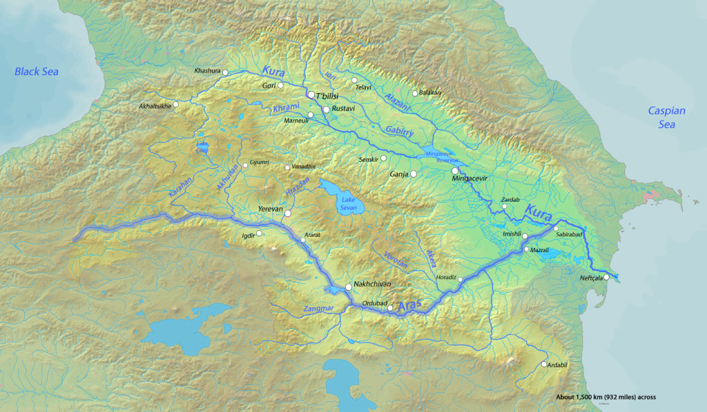 A hydrographic map of the Caucasus. March 11, 2010. (Shannon/Wikimedia Commons).