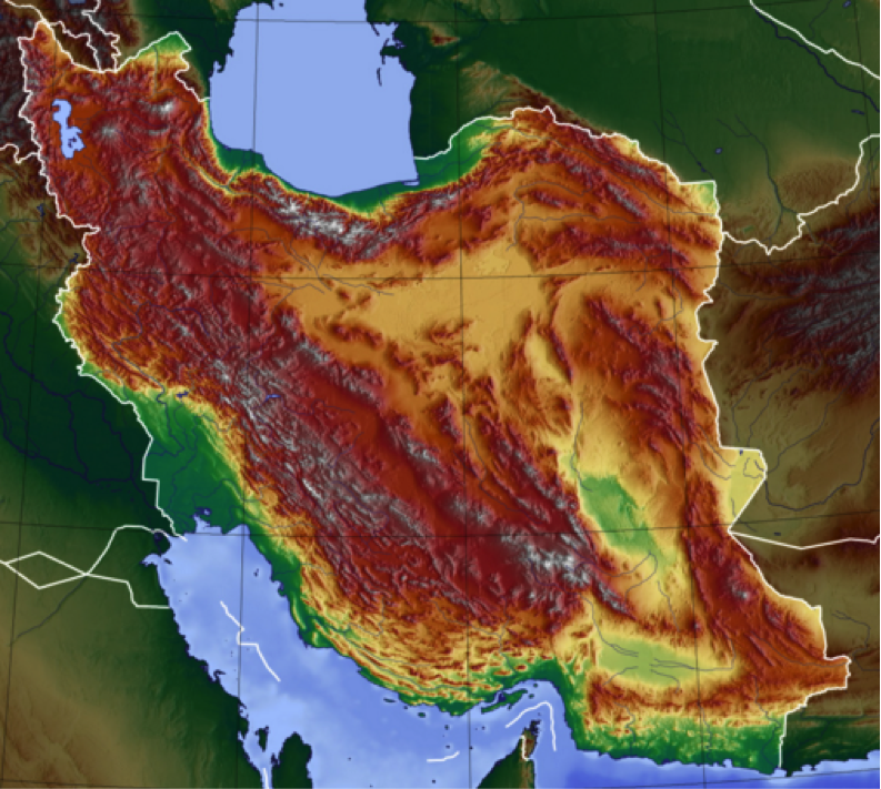 A false-color topographic map of Iran depicts its rugged terrain. (Wikimedia Creative Commons)