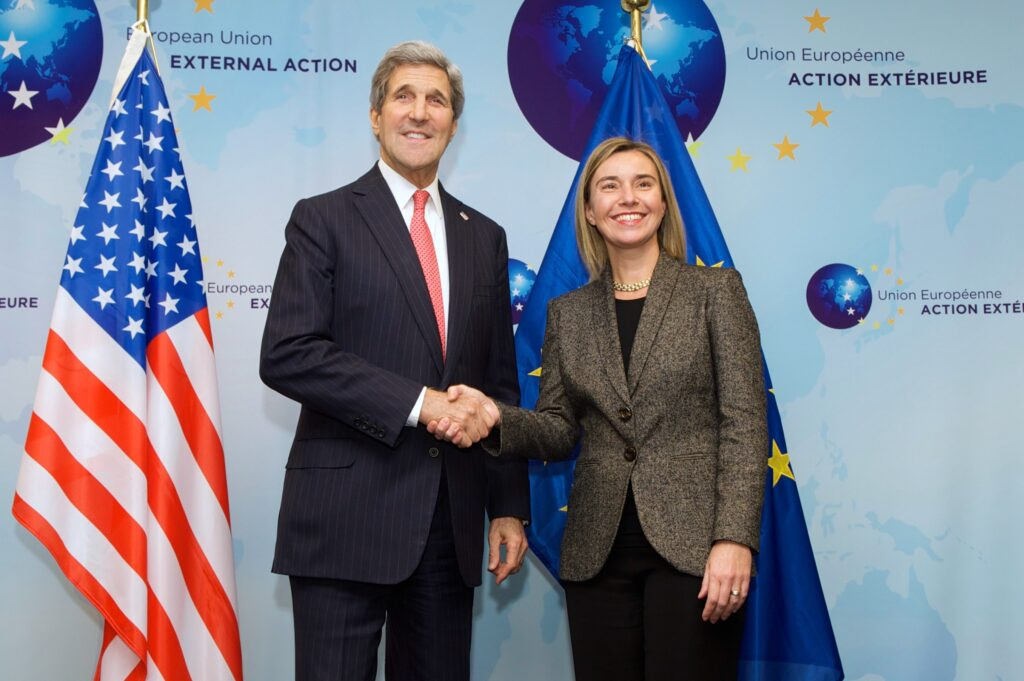 Secretary_Kerry,_European_Union_High_Representative_Mogherini_Pose_for_Photograph_at_Headquarters_of_EU_External_Action_Service_in_Belgium_(15937557505)