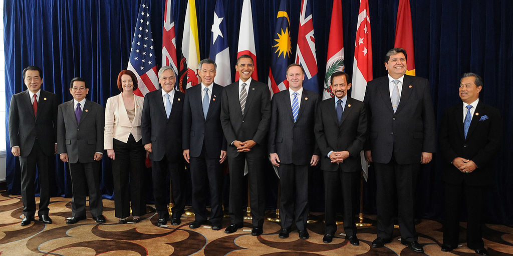 Leaders of the original ten TPP members representing Japan, Vietnam, Australia, Chile, Singapore, the US, New Zealand, Brunei, Peru, and Malaysia. (Gobierno de Chile /Wikimedia Commons).