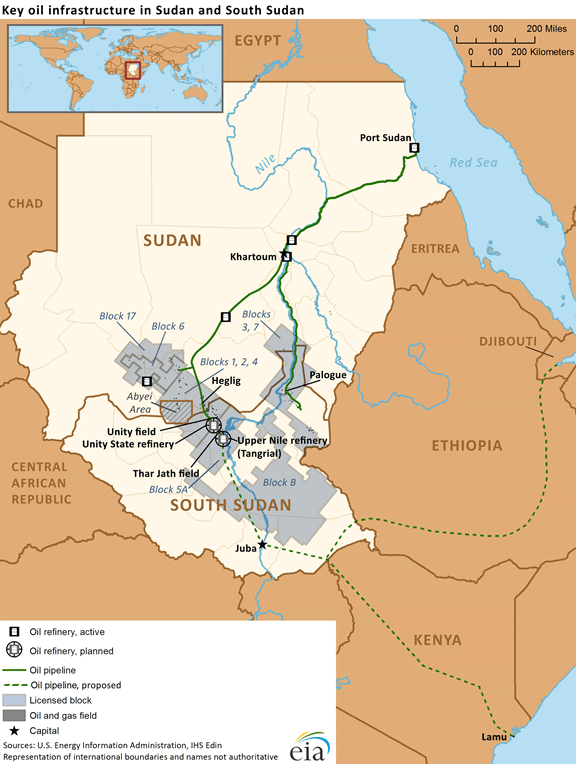 The geography of oil fields and infrastructure between South Sudan and Sudan (Wikimedia Commons).