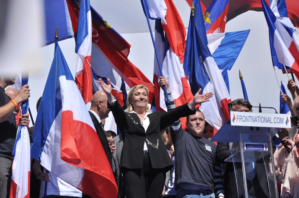 Le Pen at a rally (Blandine Le Cain, Flickr)