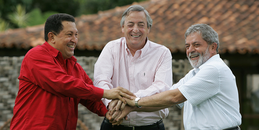 The pink tide populists Chavez, Kirchner and Lula.