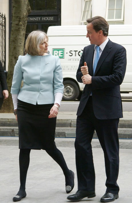 David Cameron and Theresa May Talk. May 13, 2010. (Wikimedia Commons).
