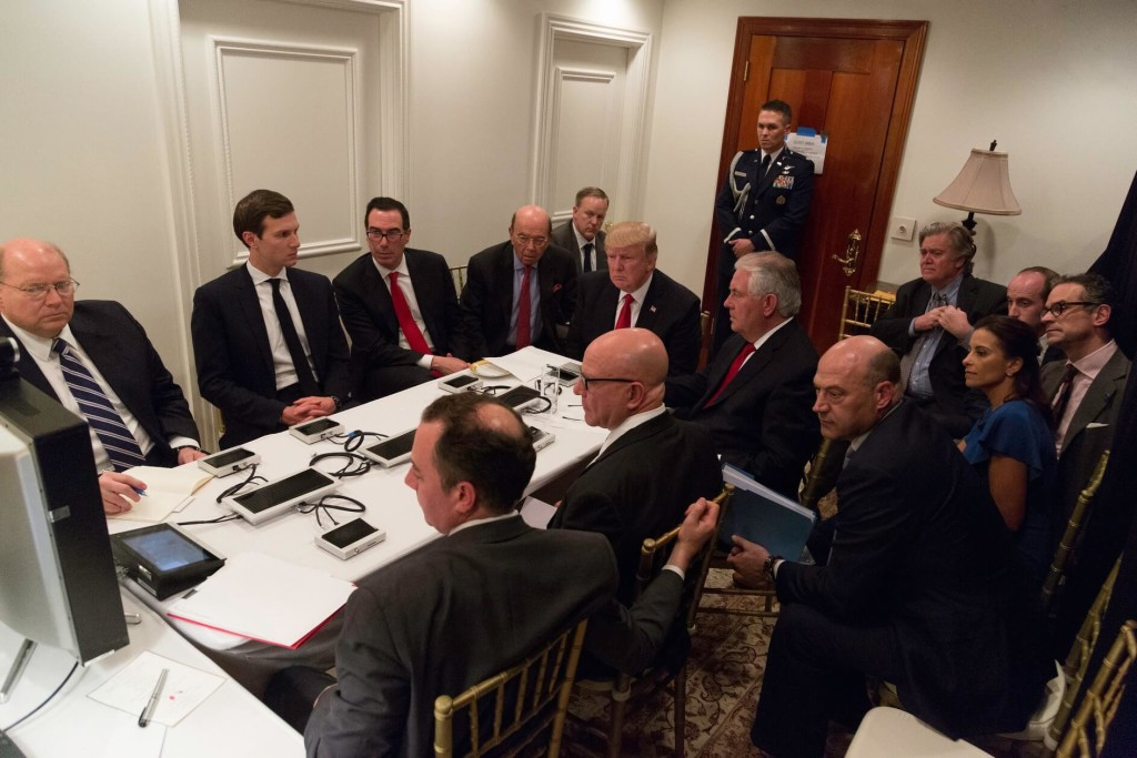 Trump receives a briefing during the April 2017 Syrian missile strike. (Wikimedia Commons).