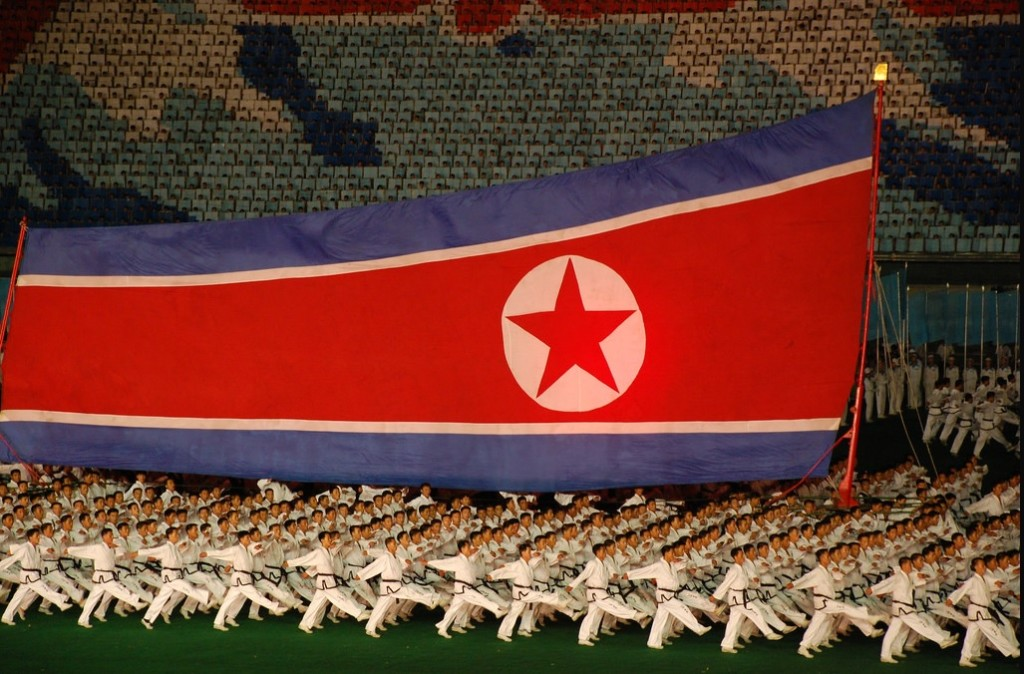An image from the North Korean Mass Games, a major gymnastics event that showcases the nationalism of the country (Flickr Creative Commons/ Stephen 2007)
