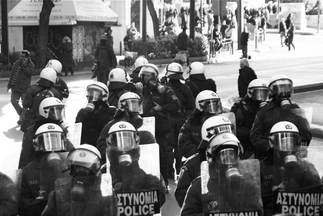 Aerial shot of Greek riot police. December 9, 2008