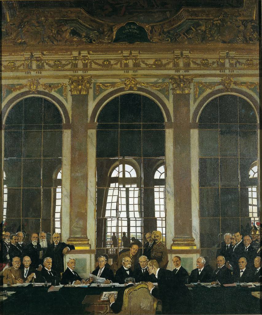The Signing of Peace in the Hall of Mirrors, Versailles, 28th June 1919. (William Orpen/Wikimedia Commons)