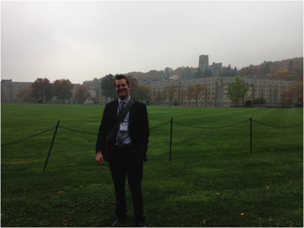"""The author pauses for a photo while attending the Student Conference on U.S. Affairs at West Point. The topic for this year's conference was """"Navigating Demographic Flows: Populations, Power, and Policy"""""""