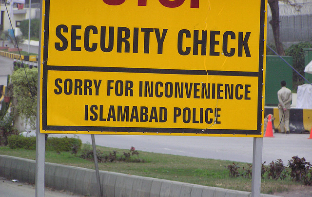 A police sign in Islamabad, Pakistan. (ayerscolleen via Flickr)