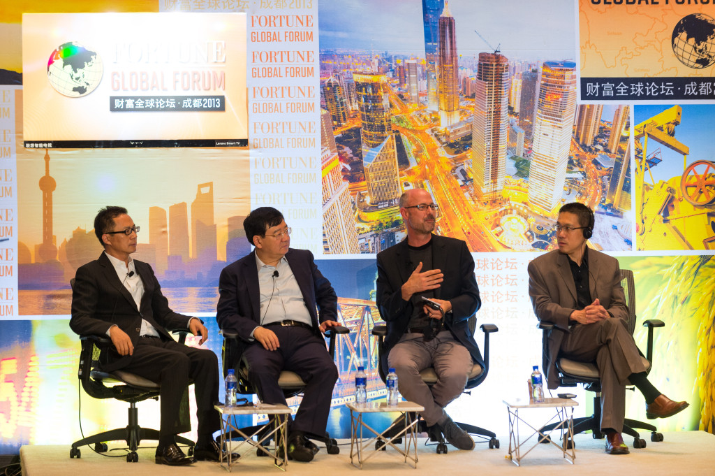 Five of China's most innovative emerging companies give their elevator pitches to a panel of notable venture capitalists, who evaluate each contestant at Fortune Global Forum 2013, Chengdu, China. June 7, 2013. (Fortune Live Media/Flickr Creative Commons)
