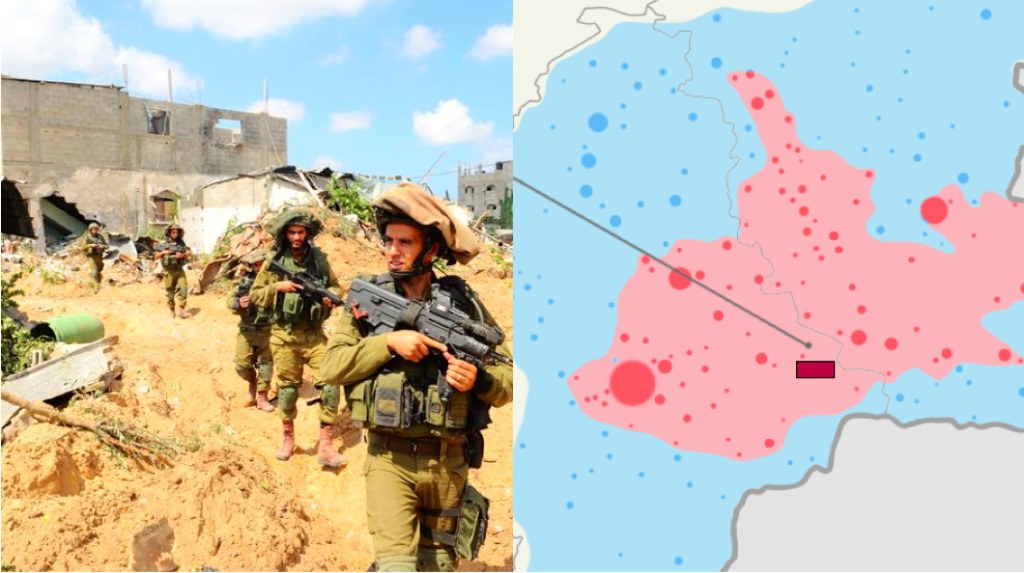 (Left) IDF Soldiers Search for Terror Tunnels in Gaza. July 20, 2014 (Israel Defense Forces/Flickr Creative Commons). (Right) Map of the crash of Malaysia Airlines Flight MH 17 ( grey line) – The route of Malaysia Airlines Flight 17   (dark red square) Approximate area of missile launch according to Ukraine[s], (light red area)  Extent of territory held by pro-Russian insurgents. July 19, 2014. (Alex1961/Wikimedia Commons)