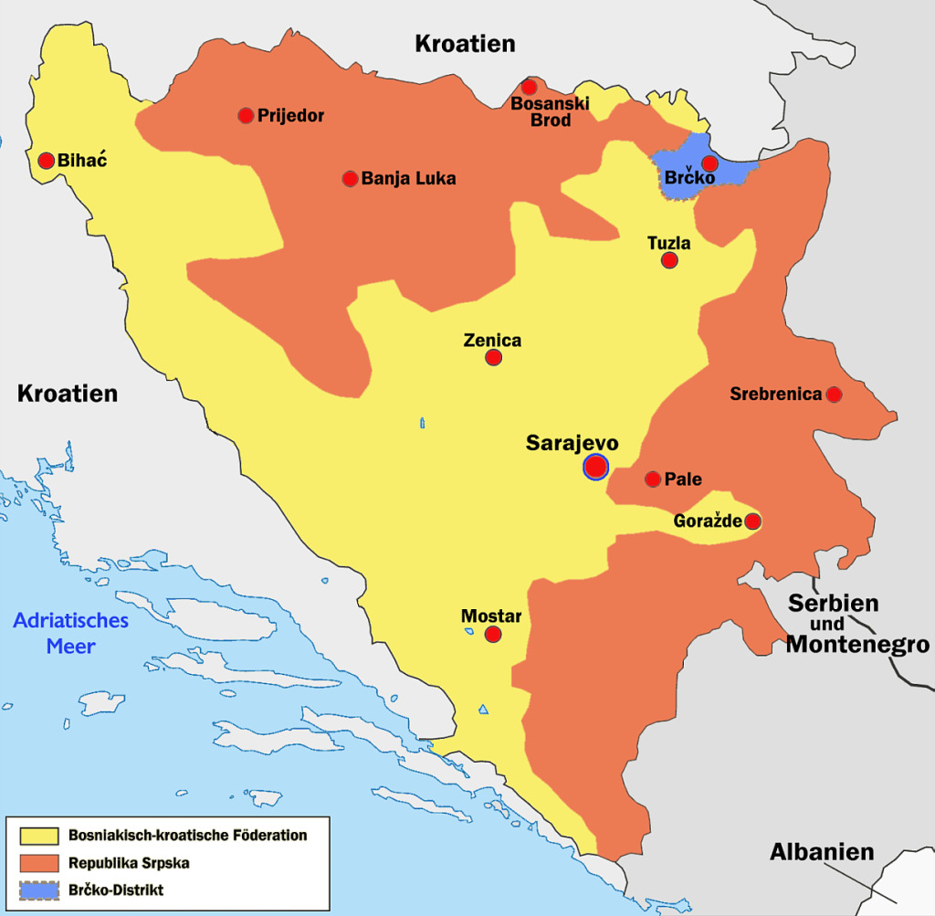 Bosnia and Herzegovina is divided into two entities, the Federation of Bosnia and Herzegovina in the west and Republika Srpska in the east. April 14, 2005. (Wolpertinger/Wikimedia Creative Commons)