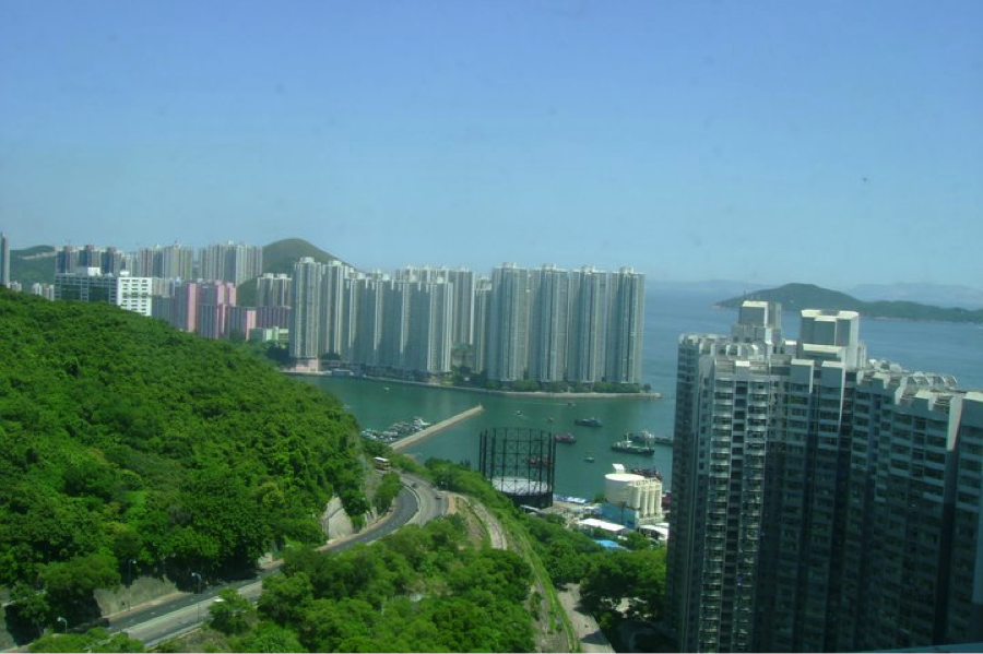 Forests and oceans are never far from Pokfulam District. Buildings here adapt to the hills and mountains, using extensive elevator, escalator, walkways and promenade systems to create convenient paths while always keeping a sense of nature. August 2011. (Author's own)