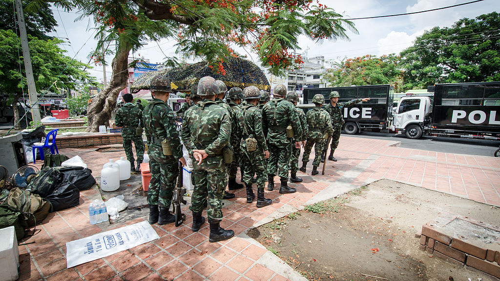 After the coup, the Thai military positioned itself at street corners throughout the country. May 26th, 2014. (Takeaway/Wikimedia Commons)