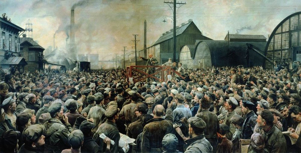 """Lenin at Putilov factory at May 1917,"" Isaak Brodsky. (Shakko/ Wikimedia Creative Commons)."