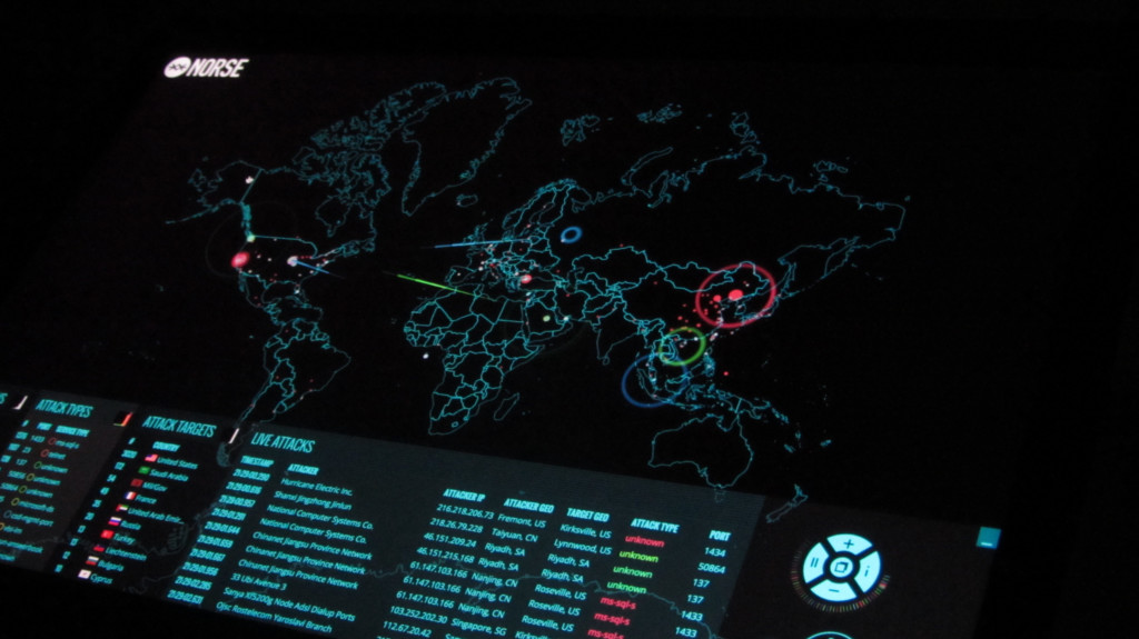 A map that shows real-time attacks on honeypots – or cyber traps to catch hackers – set up by cyber-intelligence firm Norse. (Christiaan Colen/Flickr Creative Commons).