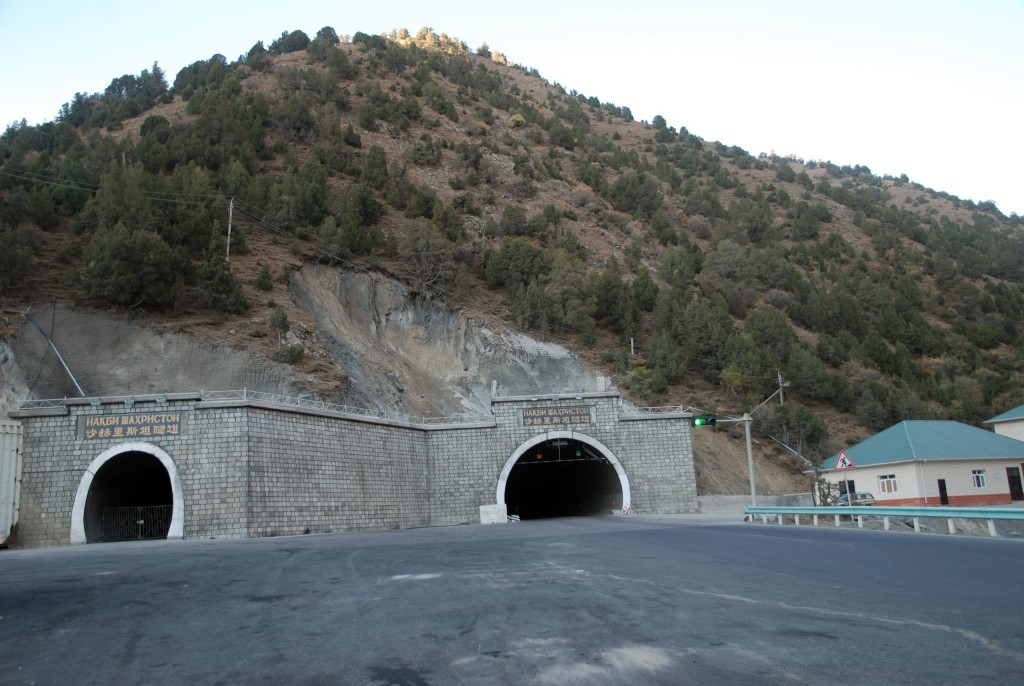 """The Shahriston Tunnel in the north is informally known as the """"Chinese tunnel"""" and greatly expedites transportation in a country where mountains make any infrastructure development difficult. September 2014. (Bertramz/Wikimedia Commons)"""