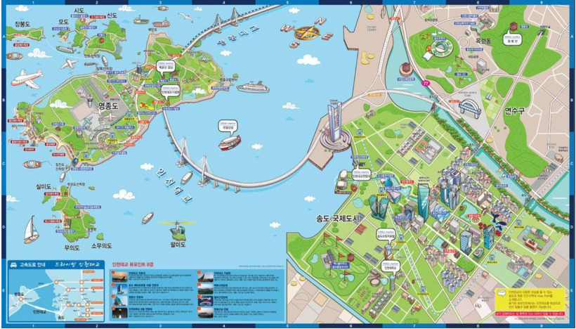 Caption: Incheon International Airport is located on the island to the west. Songdo is connected by the southern bridge, while the northern bridge heads to the Greater Incheon area. To the northeast is Seoul, which is not visible on the map (Korean Tourism Ministry).