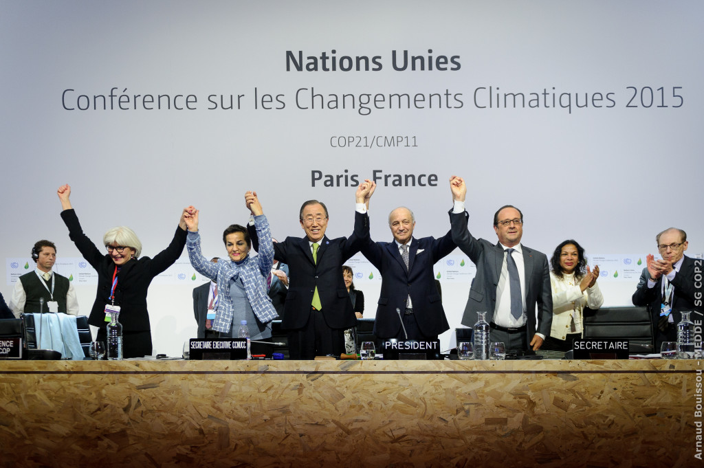 Plenary session of COP21 for the adoption of the Paris Agreement. 12 December, 2015. (COP Paris/Flickr Creative Commons).