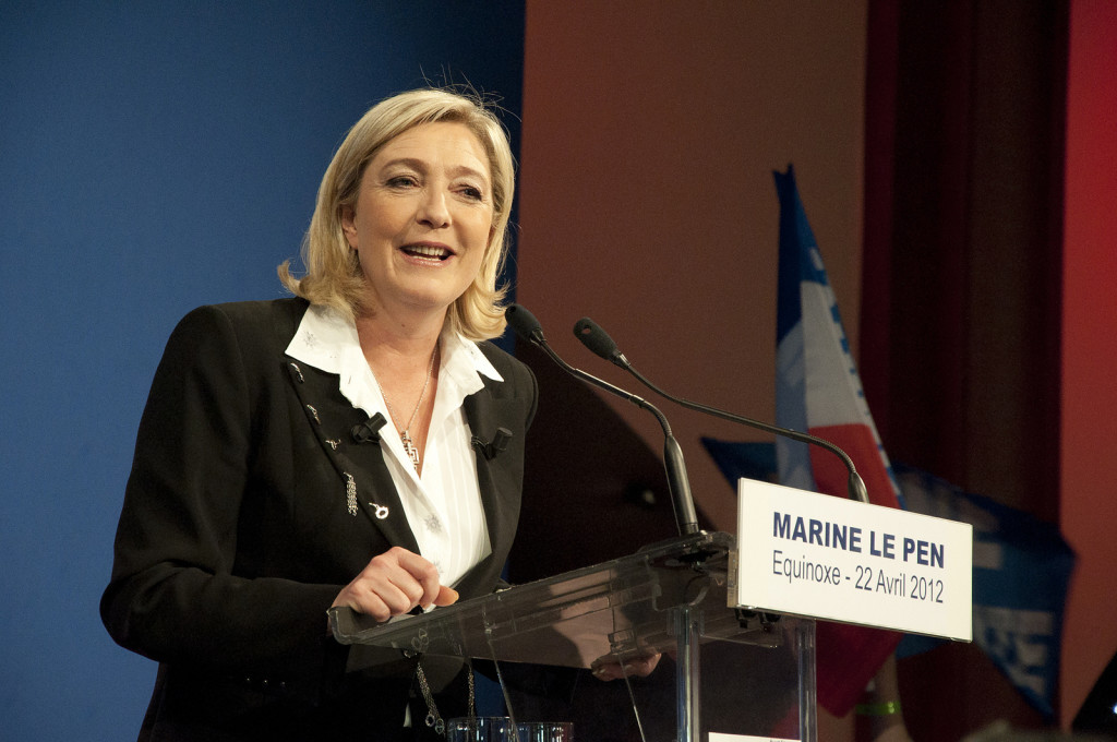 Marine Le Pen, having recently assumed leadership of the Front National party, speaks in 2012. (Rémi Noyon/Flickr)