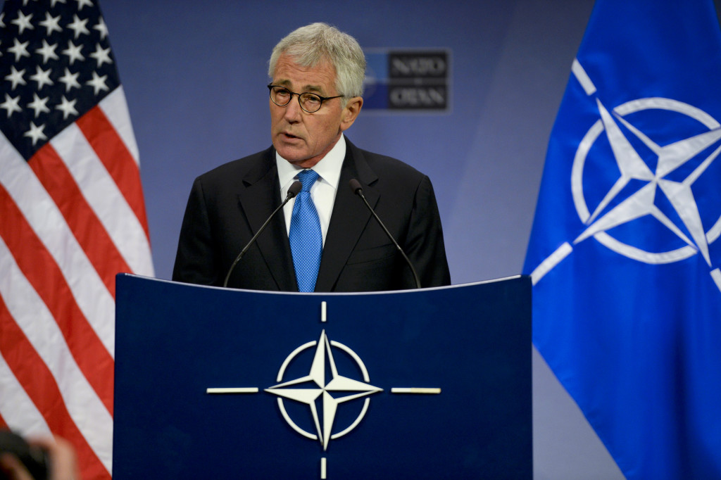 Former US Defense Secretary Chuck Hagel at the NATO news conference in Brussels addressing security concerns regarding Russia. February 5, 2015. (Sean Hurt/Wikimedia Commons).
