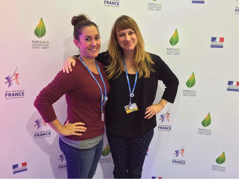 Gibson (left) with a colleague at the conference on December 12, 2015. (Image provided by Shannon Gibson).