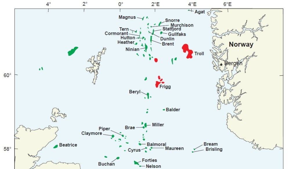 A map of oil and gas fields in the North Sea, the source of Norway's economic success (Wikimedia Commons).
