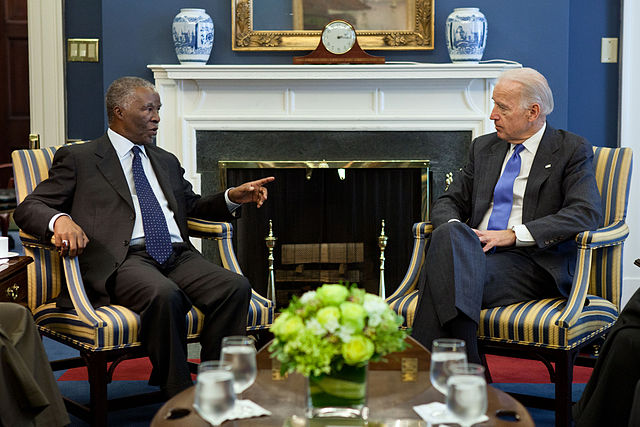 Former president Mbeki with Joe Biden Wikimedia Commons)